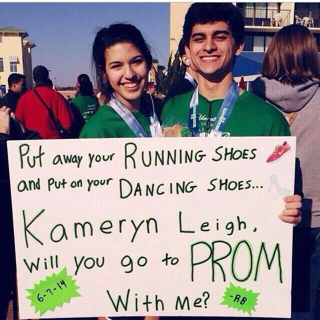 He gave this to her right after she finished running at the track meet. Promposal. Prom asking idea
