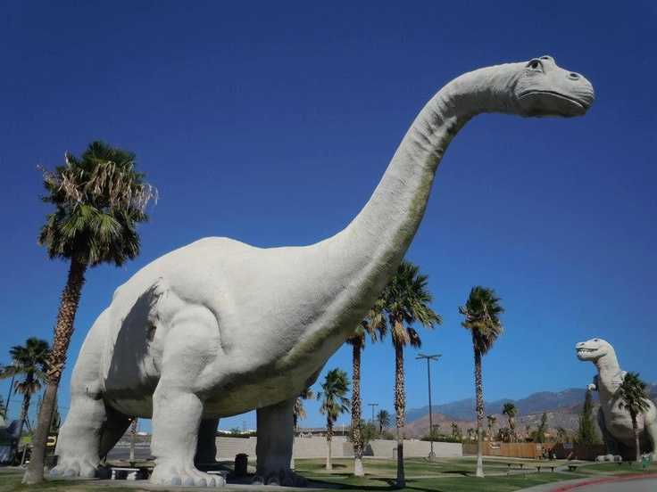 Outside of Palm Springs on I-10: Cabazon Dinosaurs with the kids. There's more to it than the store in the apatosaurus and these two giants! For a reasonable admission, you can go inside to see their robotic dinosaurs, little kids could ride one, get a prize, pan for pretty rocks, see their dino statues, and go up inside the T-Rex. It was a fun thing to do at least once with the whole family!    Not far away is the Cabazon Outlet Mall and the Desert Hills Outlet Mall.