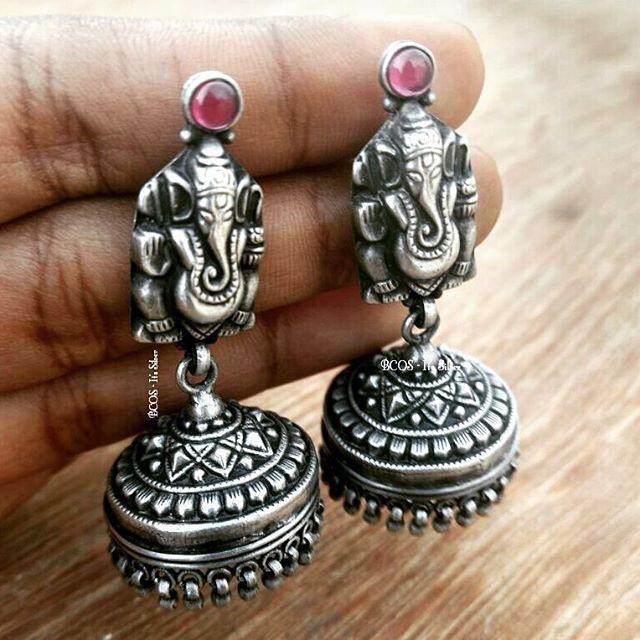 Pure silver Ganesha jhumka 3420rs/-