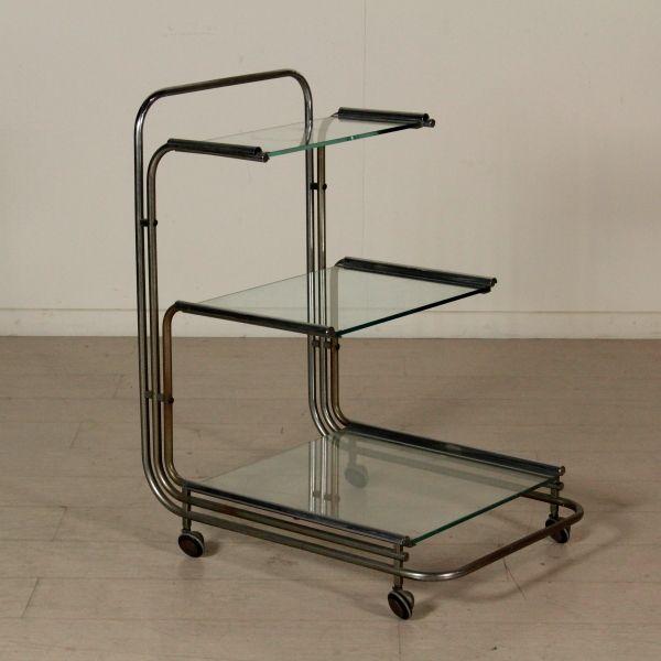 Carrello di servizio vintage anni 60-70; vetro, metallo cromato.