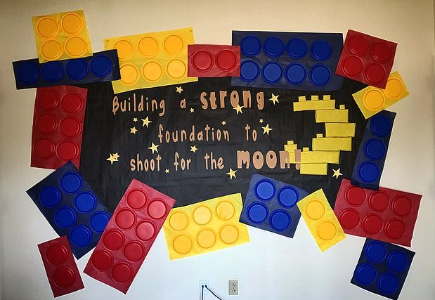 "My Kinders loved this Lego bulletin board for a space and technology theme. ""Building a strong foundation to shoot for the moon"". I went with plastic …"