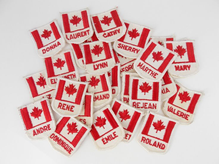 Vintage sew on patch, Canadian flags patch, embroided names sew on badges , personalized patch, patriotic embellishment, Canada patch. by LeVieuxGrenier on Etsy
