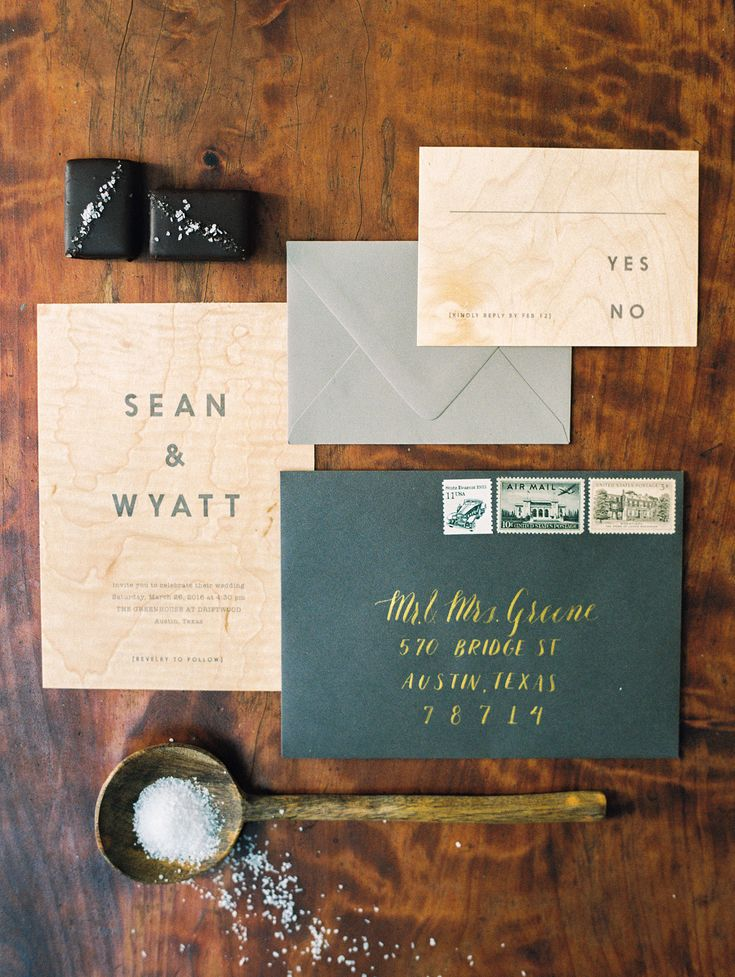 Modern Masculine themed invitations for gay wedding. Light wood + dark & light grey. @36thstreet Photography: http://www.ashleybosnick.com @birdwalkpress @lootvintage
