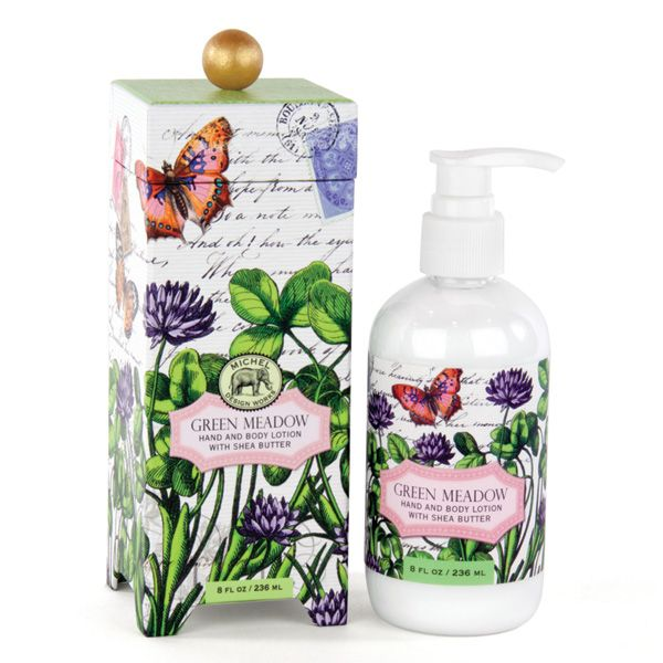 Michel Design Works Green Meadow Body Lotion 235ml — Shea butter, aloe, and other botanical ingredients make this silky, luxurious lotion perfect for even the driest skin. Beautifully packaged in a keepsake gift box. Scent: Sweet Clover
