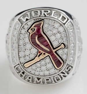 Cardinals World Series Ring. Ain't no 2010 San Francisco Giants' Tiffany bling, (yeah, I'm biased) but this is really nice.