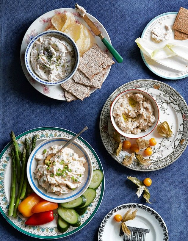 LET'S SEA | From top: smoked fish pâté; fish and white-bean spread; crab-urchin dip.
