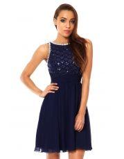 Navy Sequin Lattice Embellished Dress