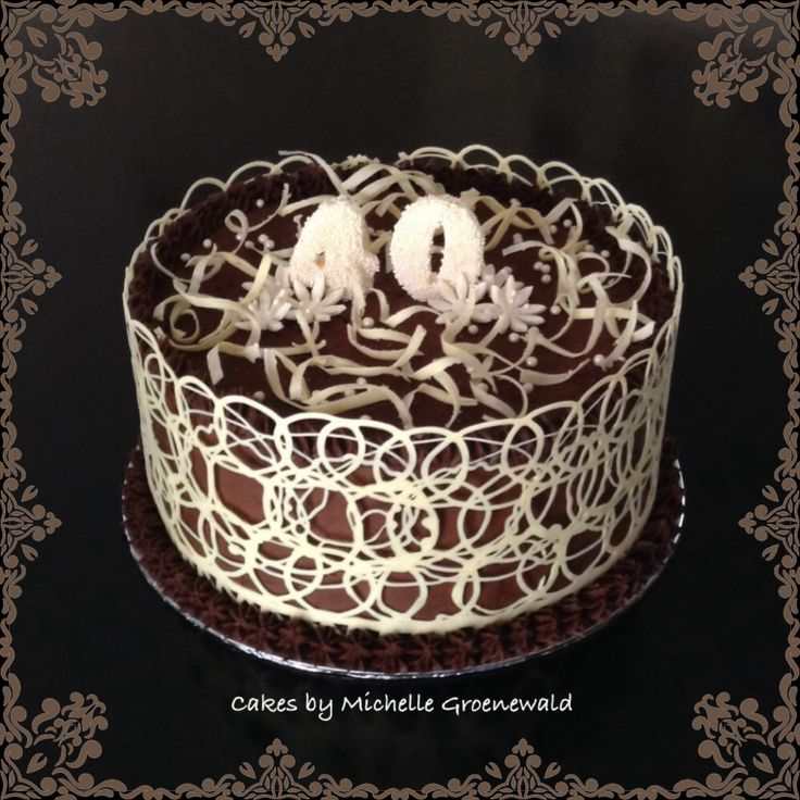 Chocolate cake with lace collar