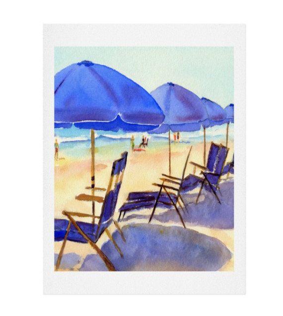 Beach Chairs Watercolor Print - Coastal Decor, Coastal Living Art - Free Shipping!
