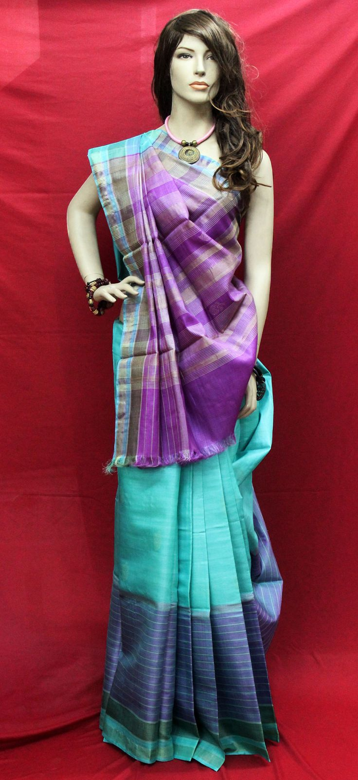 Turquoise Tussar Silk with Purple Border INR 8160