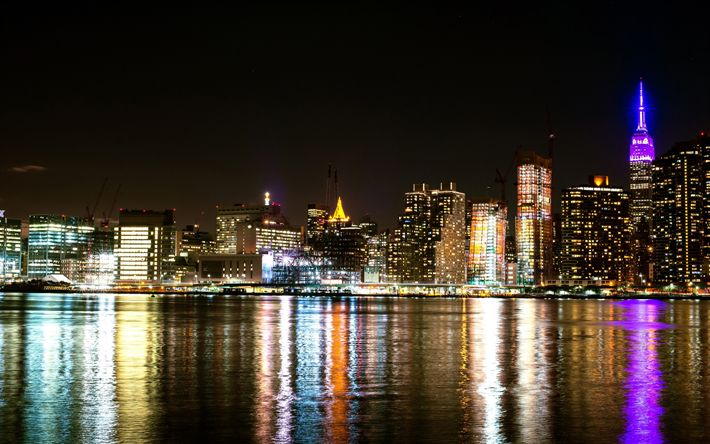 Télécharger fonds d'écran New York, la nuit, la baie, les lumières de la ville, gratte-ciel, états-unis