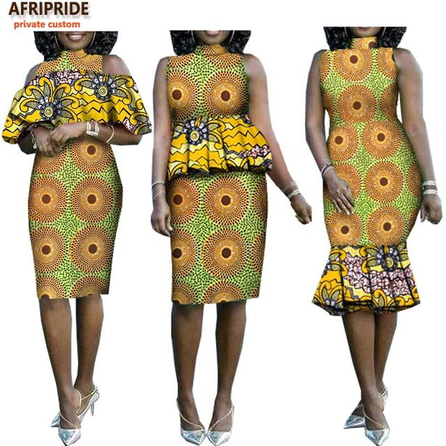 7ff0cbf6c61 2019 african summer casual dress for women AFRIPRIDE sleeveless knee-length  women dress with removable cascading ruffle A7225119