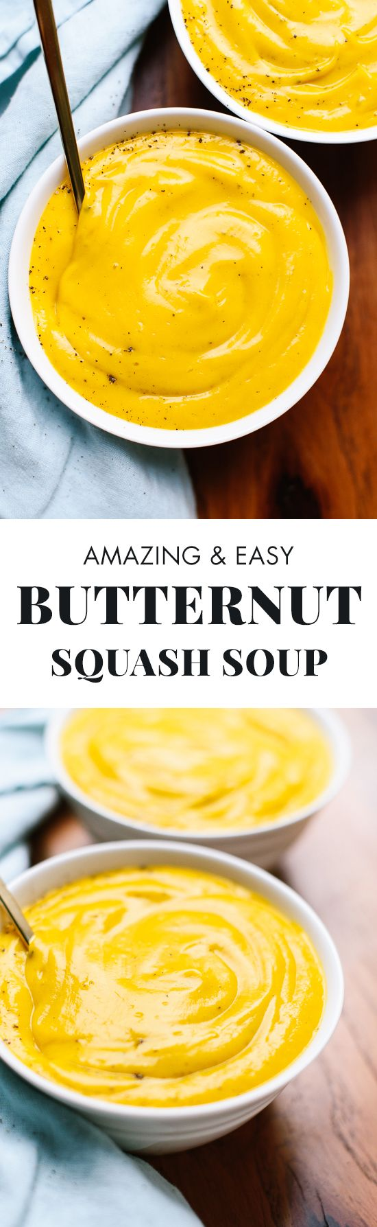 This roasted butternut squash soup recipe is super creamy but light (and easy to make!). cookieandkate.com