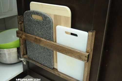 i love this diy cutting board storage much better than