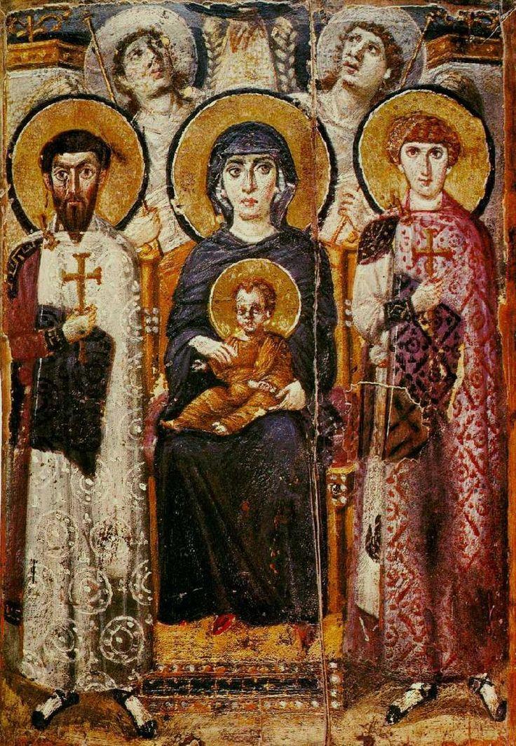 Icona della Vergine Maria con angeli e santi (VI secolo). Monastero di Santa Caterina, Sinai (Egitto)