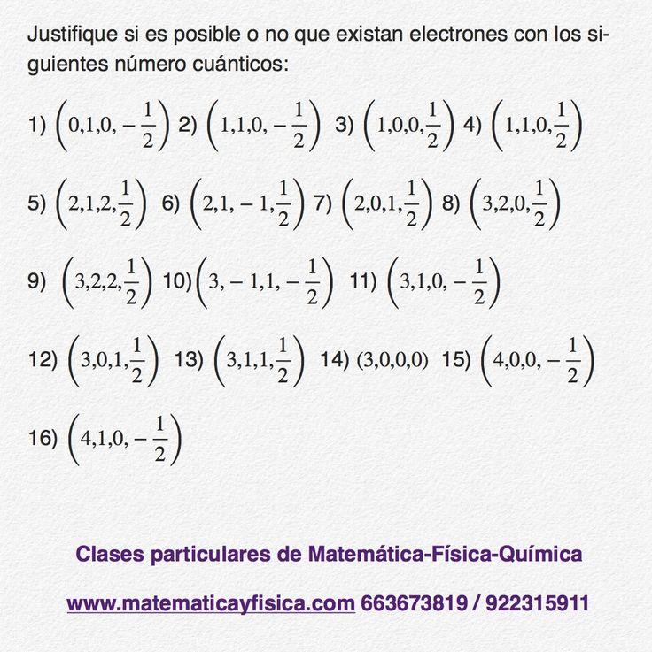 Ejercicios para practicar números cuánticos