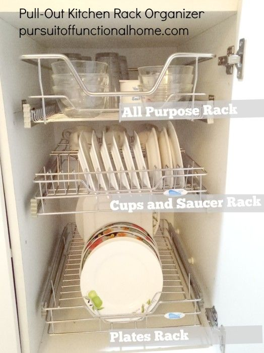 Pull Out Kitchen Rack Organizer How To Organize Your Organizers Gl Cups And Saucers Stainless Steel