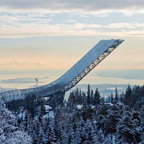 The Holmenkollen ski jump by JDS Architects in Oslo soars over 200 feet above ground.