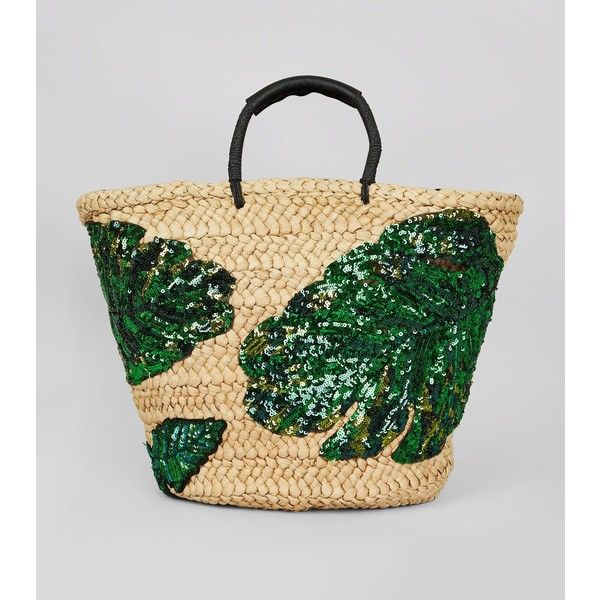 New Look Green Sequin Palm Leaf Basket Bag ($37) ❤ liked on Polyvore featuring bags, handbags, green pattern, print handbags, green bag, straw handbags, sequin bag and leaf bags