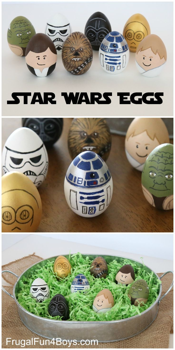 How to Make Star Wars Painted Easter Eggs - Luke, Yoda, Han Solo, Chewbacca, R2-D2, C3PO, Darth Vader, and a Storm Trooper