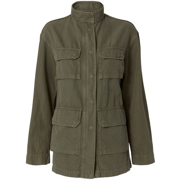 Nili Lotan Women's Lori Military Jacket ($695) ❤ liked on Polyvore featuring outerwear, jackets, military jackets, olive green military jacket, olive green field jacket, stand collar jacket and army green jackets