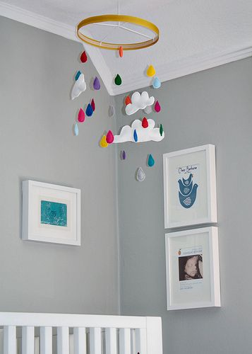 Great mobile: Baby Mobiles, Grey Wall, Projects Nurseries, Raindrop, Cribs Mobiles, Embroidery Hoop, Cloud Mobiles, Rain Drop, Mobile Design