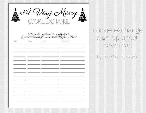 cookie exchange sign up sheet by the creative jayne