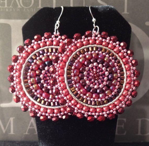 Wine Berries Seed Beaded Earrings - Big Bold Multicolored Disc Earrings