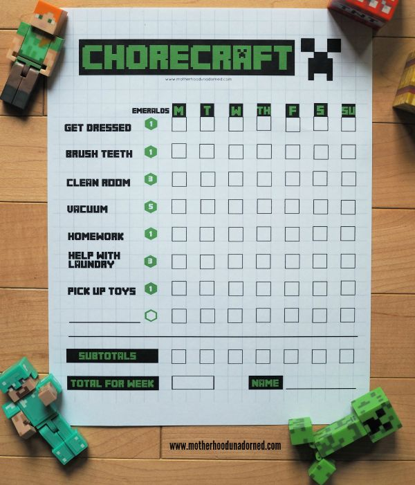 """Happiness Is a Self-Cleaning Vacuum and Kids Who Clean: Minecraft-inspired Free Printable Chore Chart Game """"Chorecraft"""" #CleaningUntangled ad"""