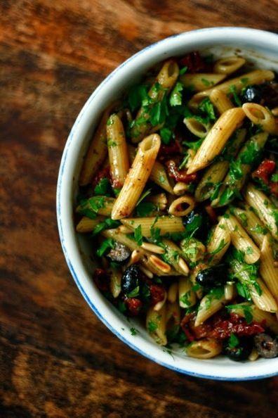 global trans pan party: ANTIPASTI pasta salad