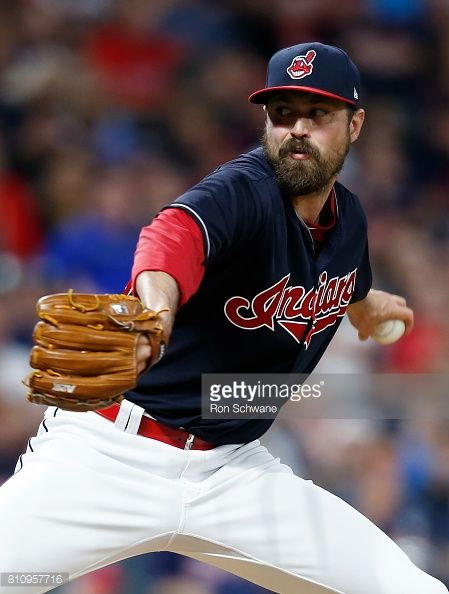Andrew Miller of the Cleveland Indians pitches against the Detroit Tigers during the seventh inning at Progressive Field on July 8, 2017 in Cleveland, Ohio. The Indians defeated the Tigers 4-0.