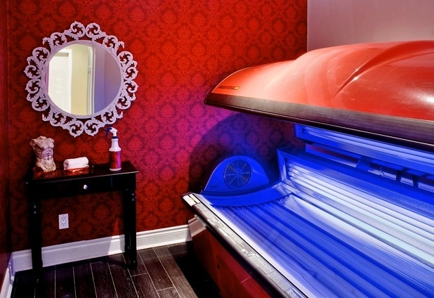 The Rouge room - tanning salon in Toronto, Bask Boutique. (cool idea for my tanning room)