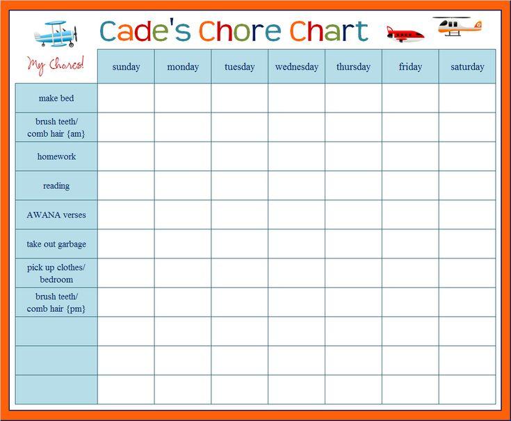 Chore Charts Template  EnderRealtyparkCo
