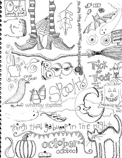 halloween doodles: Doodles Halloween, Halloween Doodles, Doodle Ideas, Zentangle Halloween, Zentangle Doodles, Doodles Ideas, Halloween Stitches, Halloween Ideas, Whimsy Studios
