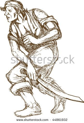 vector hand sketched illustration of a pirate with sword isolated on white  #pirate #sketch #illustration