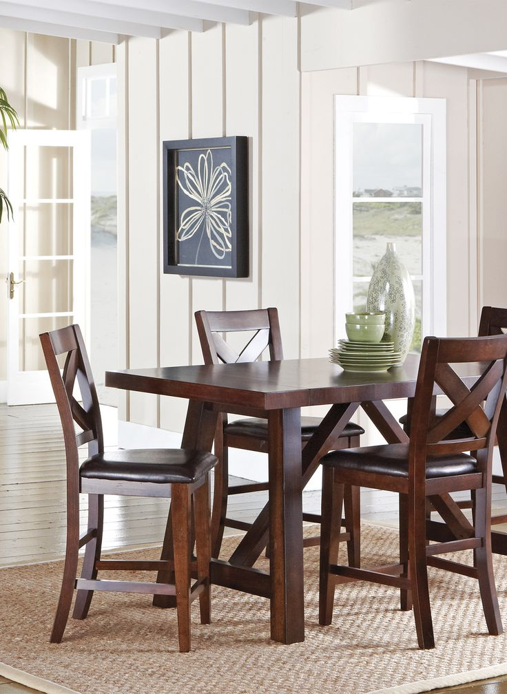 Marvelous Mango Burnished Walnut 5 Pc Counter Height Dining Room