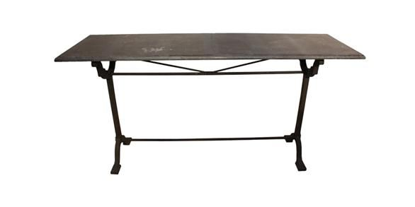 Iron Console Table w Stone Top 169x49x85