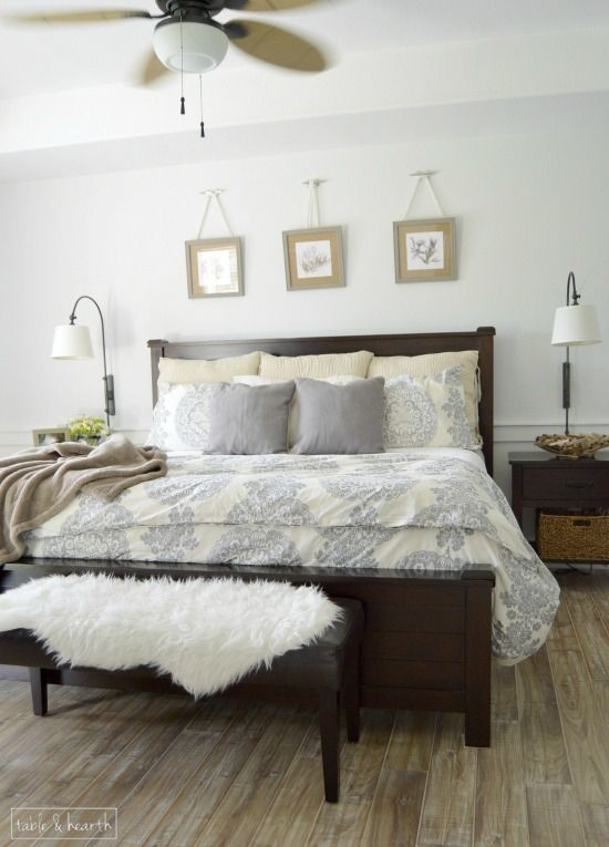 a calm fresh and relaxing master bedroom makeover with just a little touch