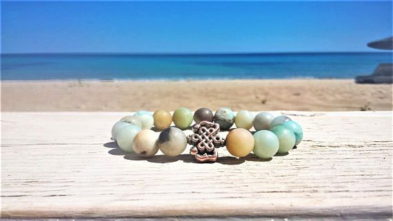Amazonite mala beads bracelet wrist mala courage and good