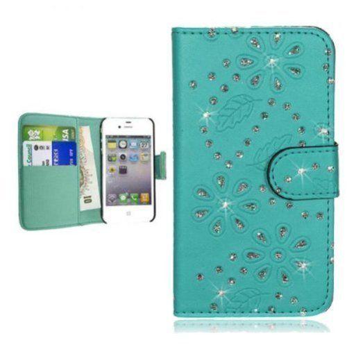 ECENCE Samsung Galaxy S3 i9300 S3 Neo i9301 Custodia a Portafoglio Protettiva wallet case cover turchese strass bling scintillante 23020107, http://www.amazon.it/dp/B00MVV6H3K/ref=cm_sw_r_pi_awdl_LuPSub13P20K4