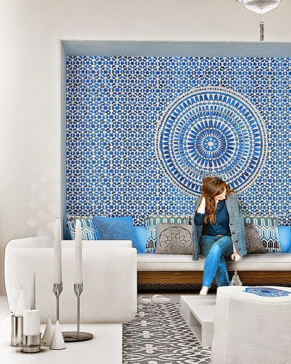 Tile statement wall. Great way to incorporate zellige without doing an entire room.