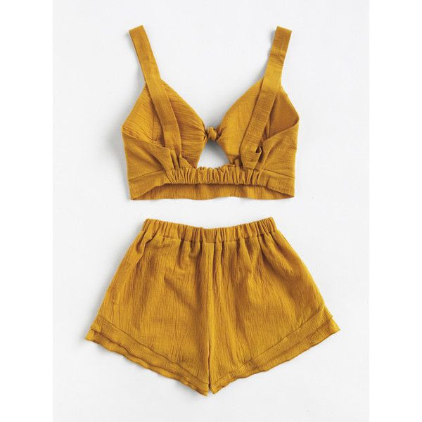 SheIn(sheinside) Knotted Keyhole Front Textured Crop Top With Shorts ($16) ❤ liked on Polyvore featuring tops, embellished top, keyhole sleeve top, sleeveless tops, no sleeve tops and brown crop top