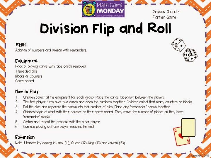 Division Flip and Roll for 3rd/4th Grade