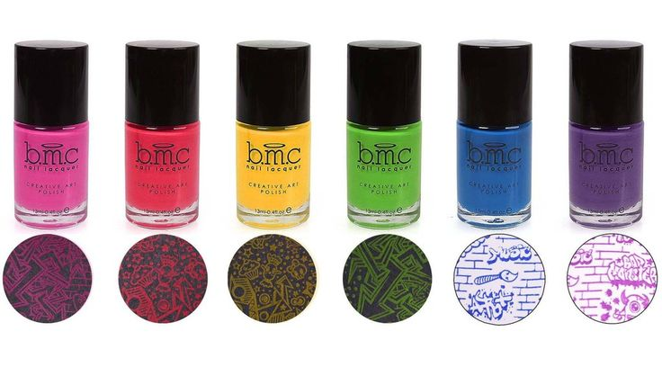 Make universally gorgeous nail stamping designs with this rainbow colored 6pc set of heavily pigmented creative art polishes named Star Slinger