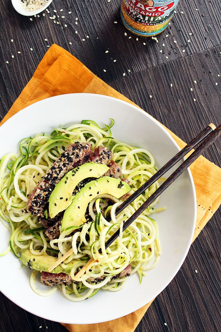 Sesame Crusted Tuna & Avocado with Spicy Sesame Zucchini Noodles #spiralizer #inspiralized
