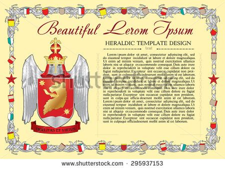 Vector template of heraldic charter with helmet, crown, shield, decorative antique frame and text space. - stock vector