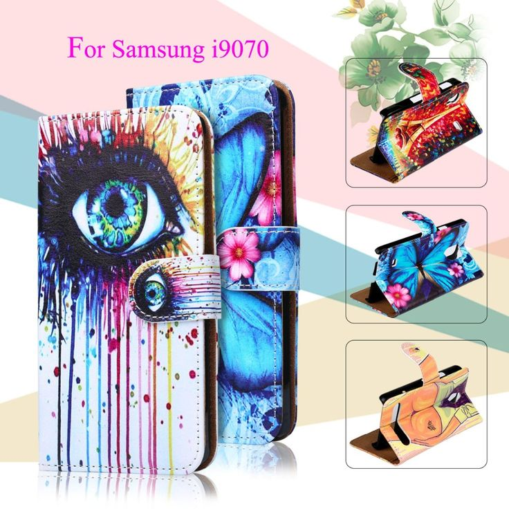 Luxury Painted PU Leather Cases For Samsung Galaxy S Advance i9070 GT-I9070 i9070 Cover Card Holders Phone Wallet Flip Holster