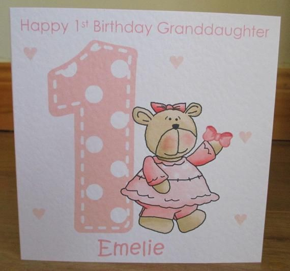 Personalised Handmade 1st 2nd 3rd Teddy Pink Birthday Card Daughter Granddaughter Goddaught 1st Birthday Cards First Birthday Cards Personalized Birthday Cards