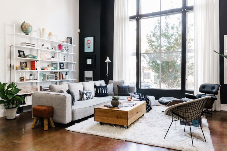 """Apartment office area : Stairway white """" wall mounted bookcase Leather Texture, Grey Couches and White Living Rooms"""