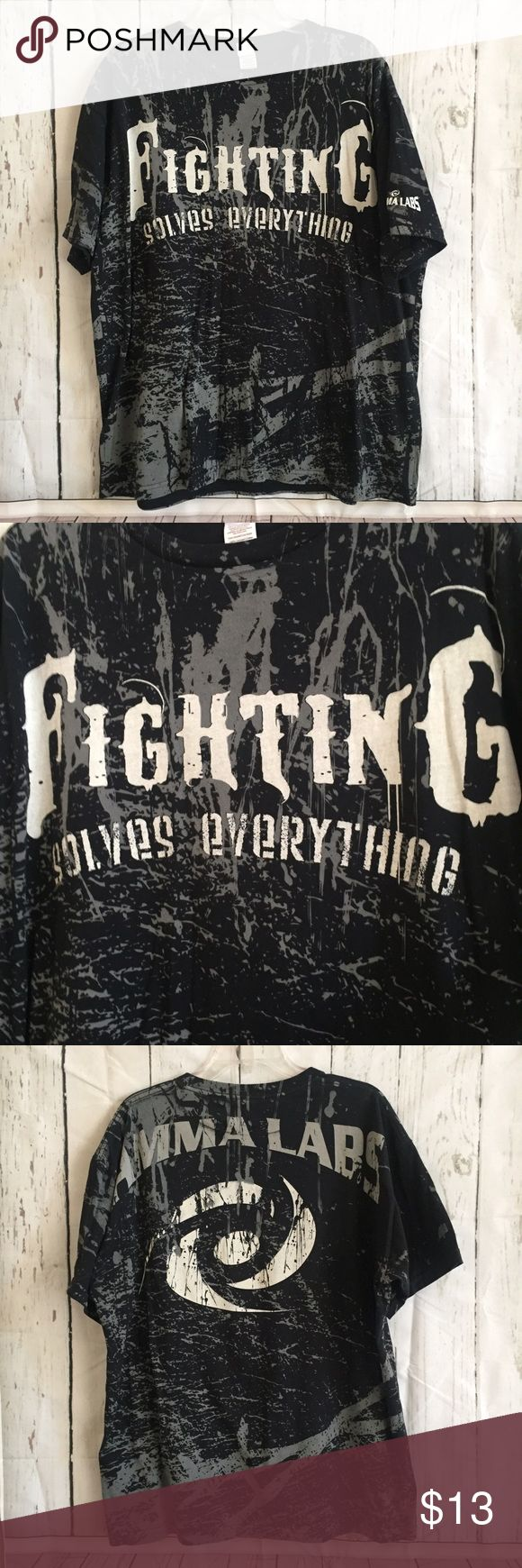 Fighting Solves Everything MMA Tee Front of the MMA tshirt reads Fighting Solves Everything. Back reads MMA Labs. 100% soft cotton. Used once. In excellent condition. MMA Shirts Tees - Short Sleeve